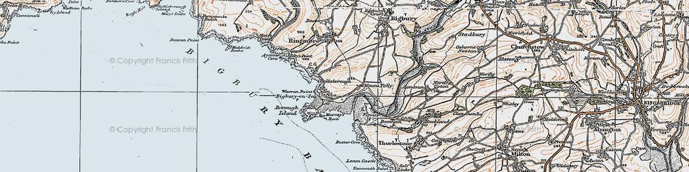 Old map of Bigbury-on-Sea in 1919