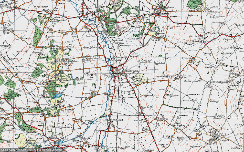 Old Map of Biggleswade, 1919 in 1919