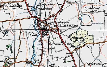 Old map of Biggleswade in 1919