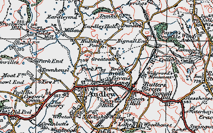 Old map of Bignall End in 1921