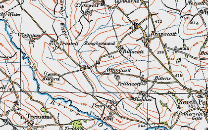 Old map of Billacott in 1919