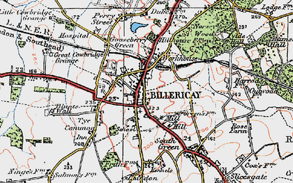 Old map of Billericay in 1920