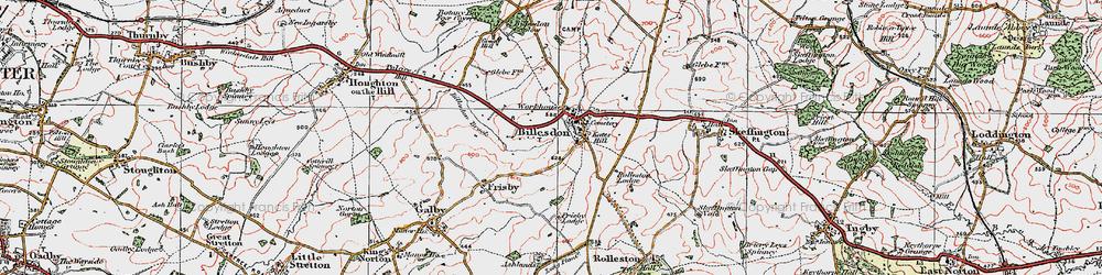 Old map of Billesdon in 1921