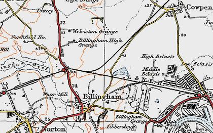 Old map of Billingham in 1925