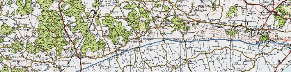 Old map of Bilsington in 1921
