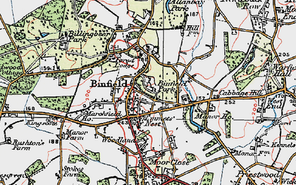 Old map of Binfield in 1919