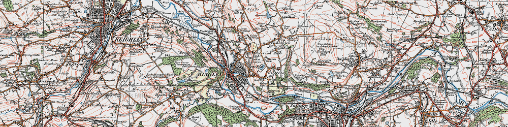 Old map of Bingley in 1925