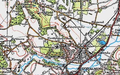 Old map of Binscombe in 1920