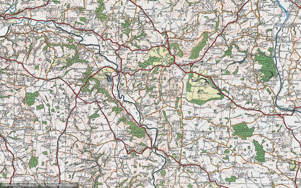 Old Map of Historic Map covering Woodbury Hill in 1920