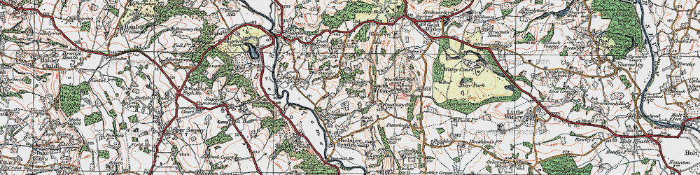 Old map of Woodbury Hill in 1920
