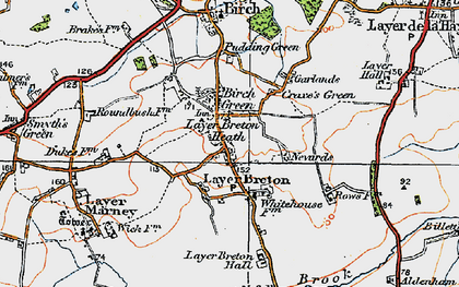 Old map of Layer Breton Hall in 1921