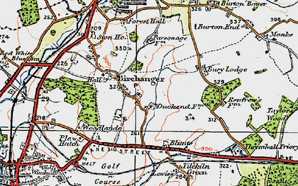 Old map of Birchanger in 1919