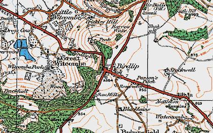Old map of Birdlip in 1919