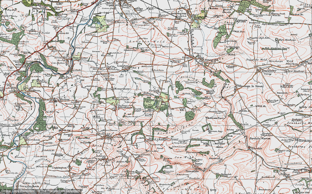 Old Map of Historic Map covering Leys Wood in 1924