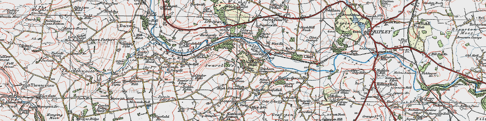Old map of Birstwith in 1925