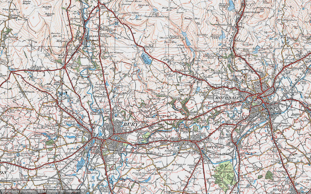 Old Map of Historic Map covering Leaches in 1924