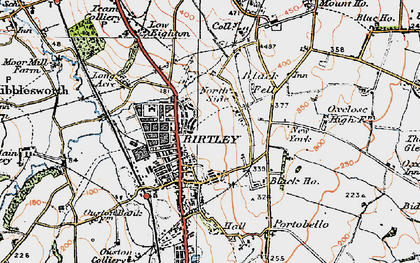 Old map of Birtley in 1925