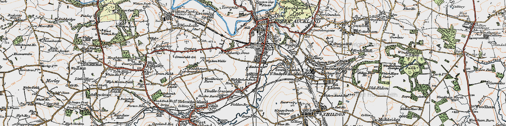 Old map of Bishop Auckland in 1925