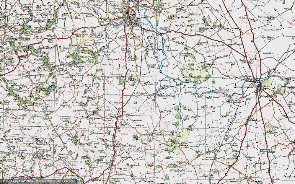 Old Map of Bishop Monkton, 1925 in 1925