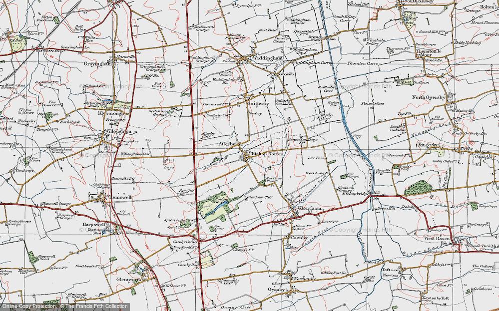 Old Map of Bishop Norton, 1923 in 1923