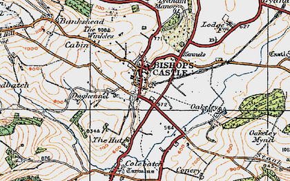 Old map of Bishop's Castle in 1920