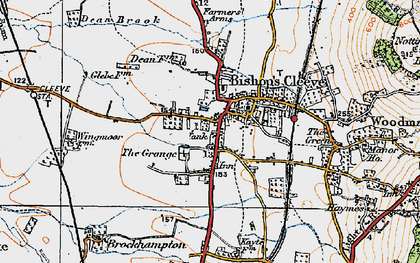 Old map of Bishop's Cleeve in 1919