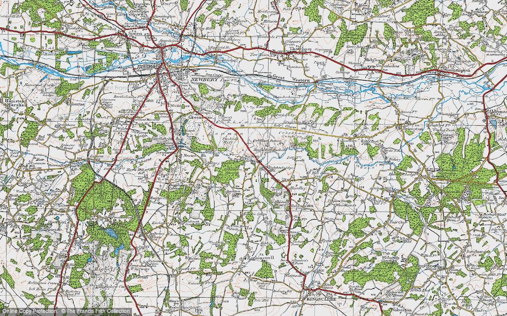 Old Map of Historic Map covering Aldern Bridge Ho in 1919