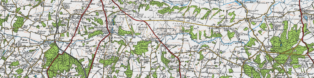 Old map of Aldern Bridge Ho in 1919
