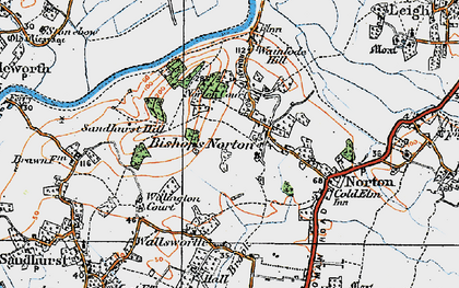Old map of Bishop's Norton in 1919