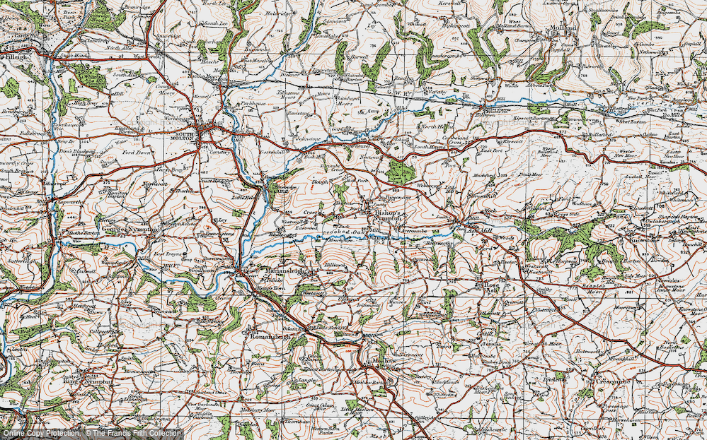 Old Map of Historic Map covering Avercombe in 1919