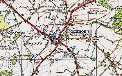 Old map of Bishop's Waltham in 1919