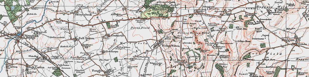 Old map of Bishop Wilton in 1924
