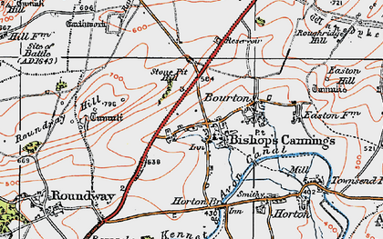 Old map of Bishops Cannings in 1919