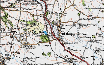 Old map of Bishops Lydeard in 1919