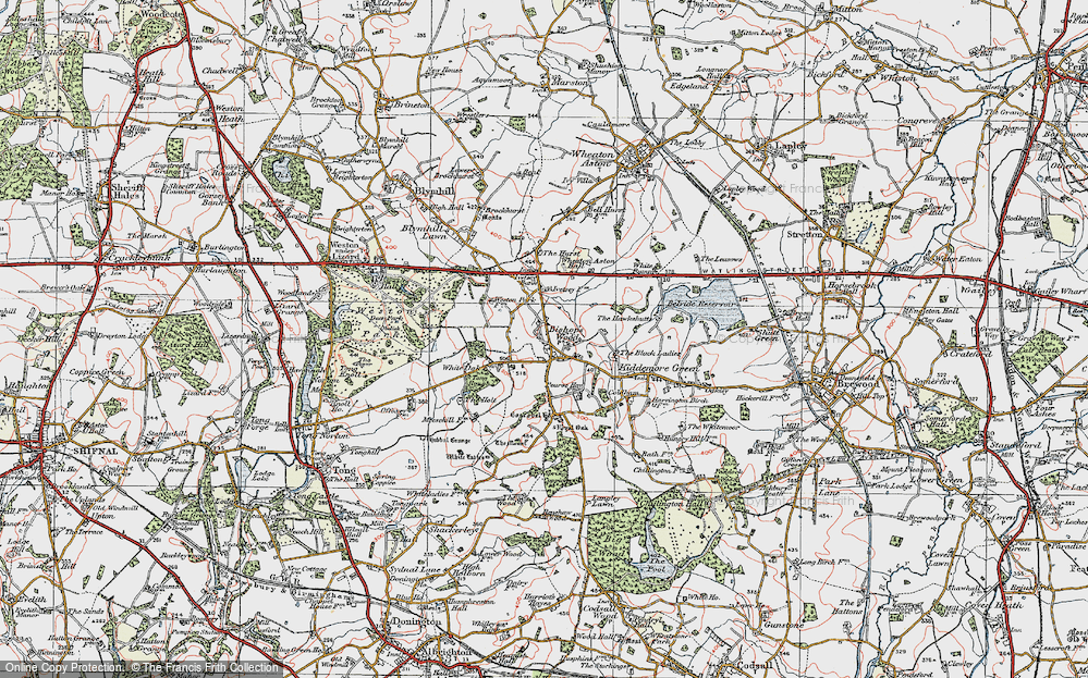 Old Map of Historic Map covering Tong Rough in 1921