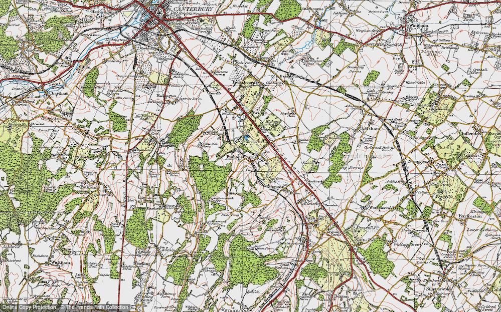 Old Map of Bishopsbourne, 1920 in 1920