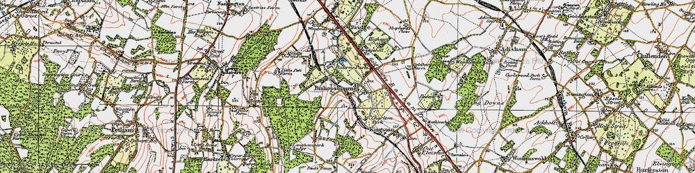 Old map of Bishopsbourne in 1920