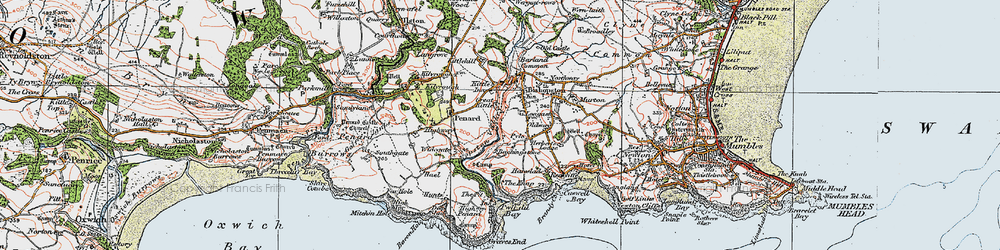 Old map of Bishopston in 1923