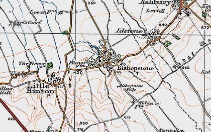 Old map of Bishopstone in 1919