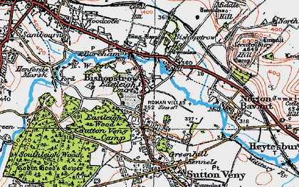 Old map of Bishopstrow in 1919