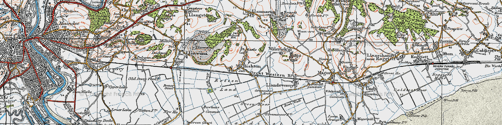 Old map of Bishton in 1919