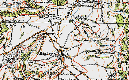 Old map of Bisley in 1919