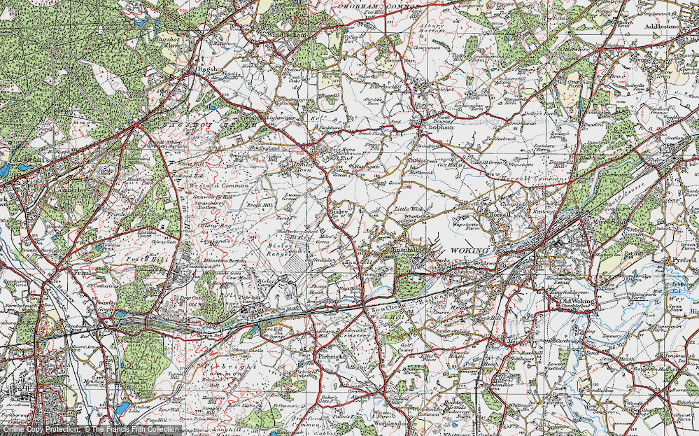 Old Map of Bisley, 1920 in 1920