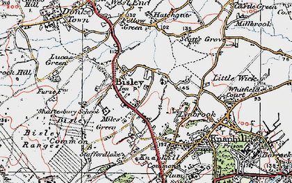 Old map of Bisley in 1920