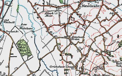 Old map of Bispham Green in 1923