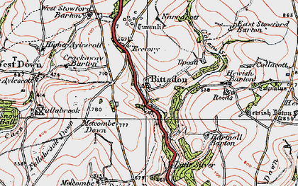 Old map of West Stowford Barton in 1919