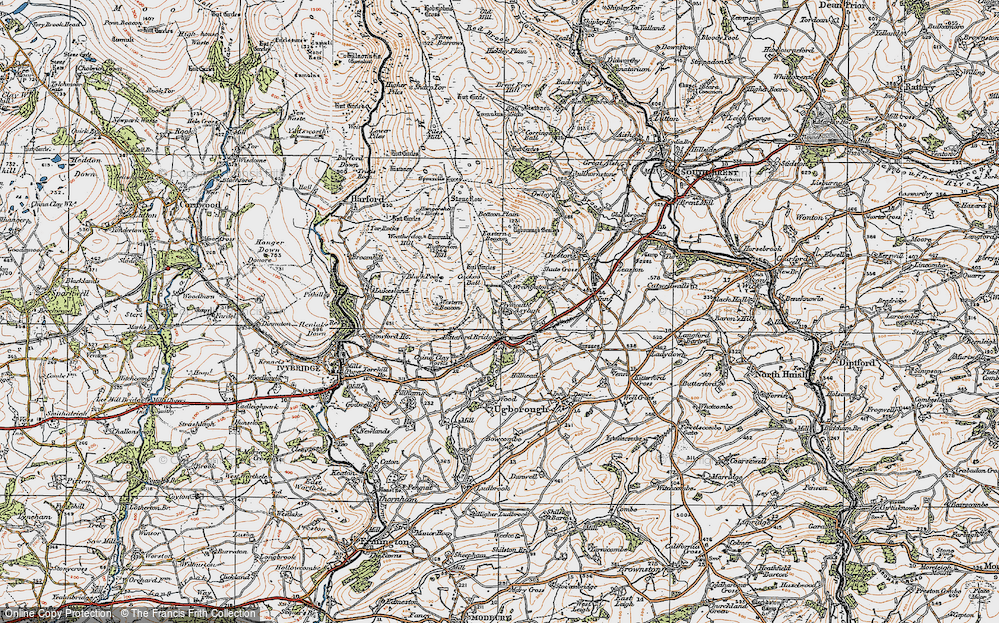 Old Map of Historic Map covering Western Beacon in 1919