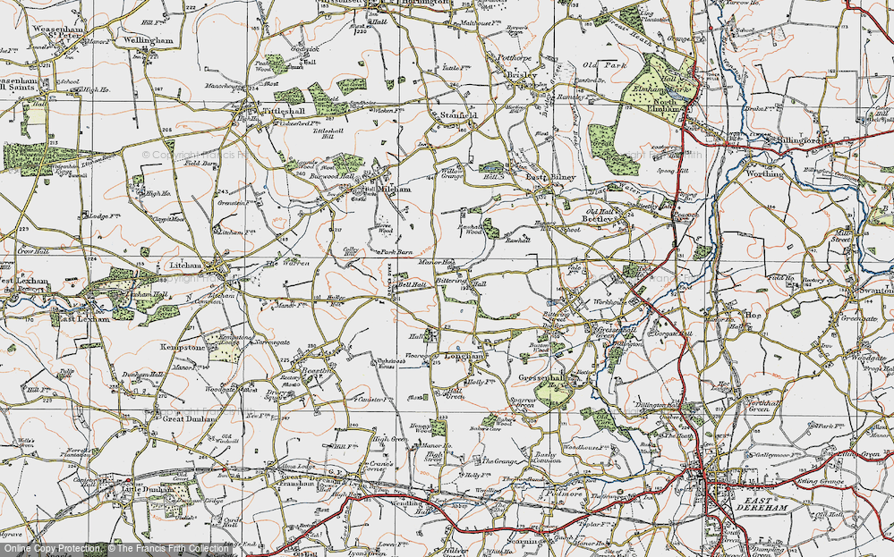 Old Map of Historic Map covering Launditch in 1921