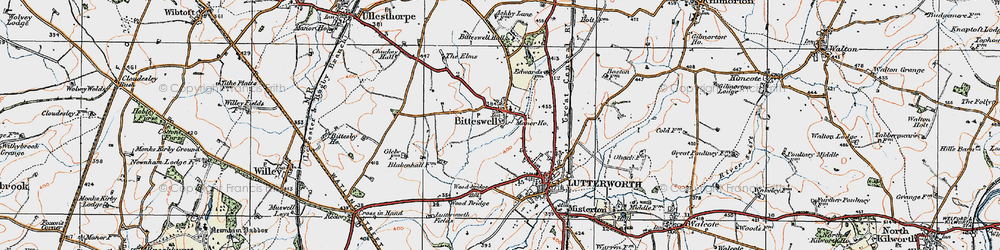 Old map of Wood Br in 1920