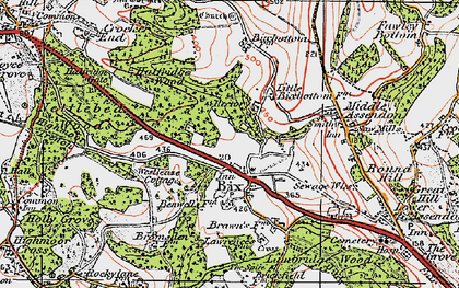 Old map of Bix in 1919